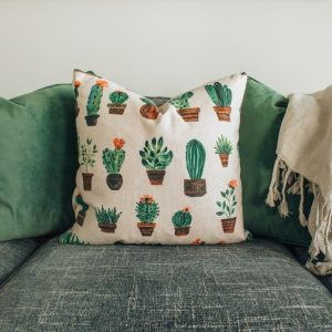colorful pillow on the couch